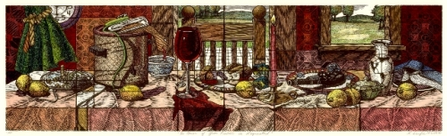 The Honor of Your Presence is Requested..., Rachel Durfee, (c)2006, woodcut with hand coloring, 19 1/2