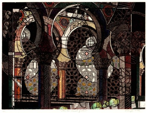 Within One Moment of Silence, Rachel Durfee, (c)1996, woodcut with hand coloring, 25 1/2