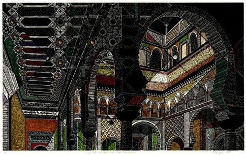 There Were More Rooms Than I Had Remembered, Rachel Durfee, (c) 1995, woodcut with hand coloring, 25 1/2