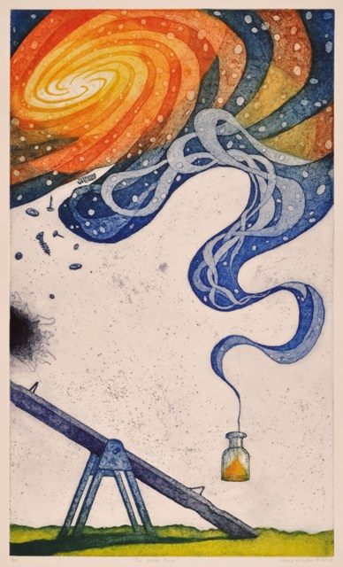 In Glass Jars, Rachel Durfee, (c)2013, color etching, 37 1/2